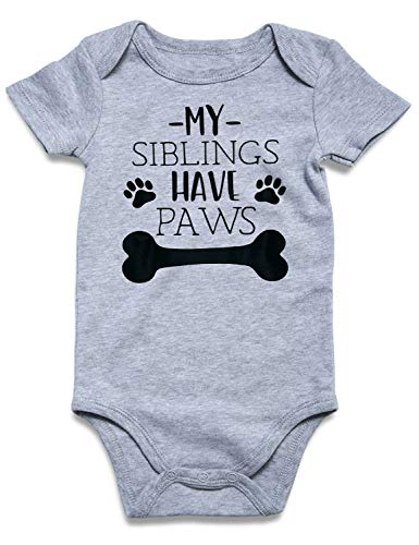(Cutemefy My Sibling Have Paws Cute Novelty Funny Infant One-Piece Baby Bobysuit)