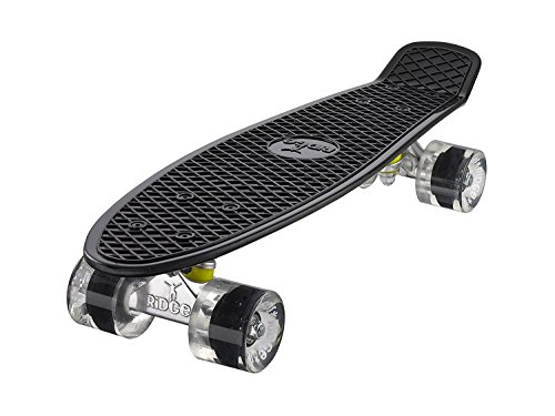 Ridge Skateboards Original Retro Cruiser - Black/Clear Wheels, 22 Inch