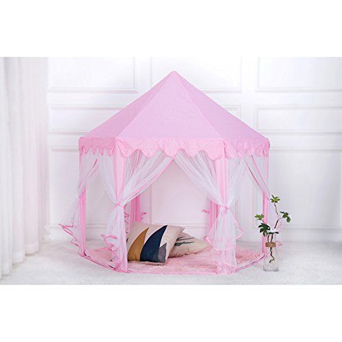 Tenozek Princess Castle Play House Large Outdoor Kids Play Tent for Girls Pink by Tenozek (Image #6)