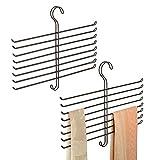 mDesign Closet Metal Wire Storage Organizer Hanger Holder for Scarves, Ties, Belts, Pashminas - Set of 2, Bronze