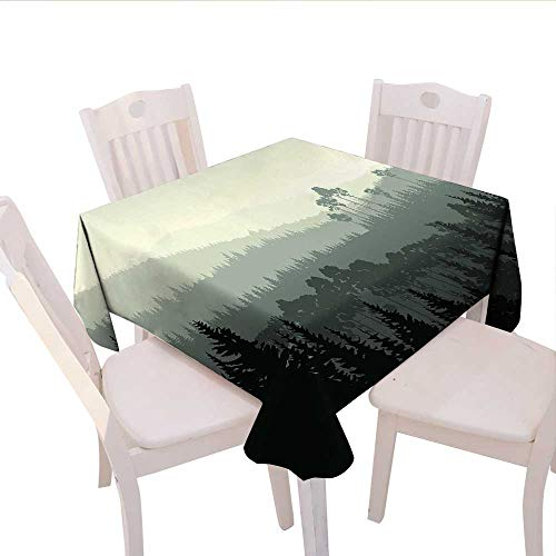 longbuyer Forest Linen Tablecloth The Panorama of a Valley and Mystic Forest of Pine Trees Nature Theme Round Outdoor Tablecloth 60