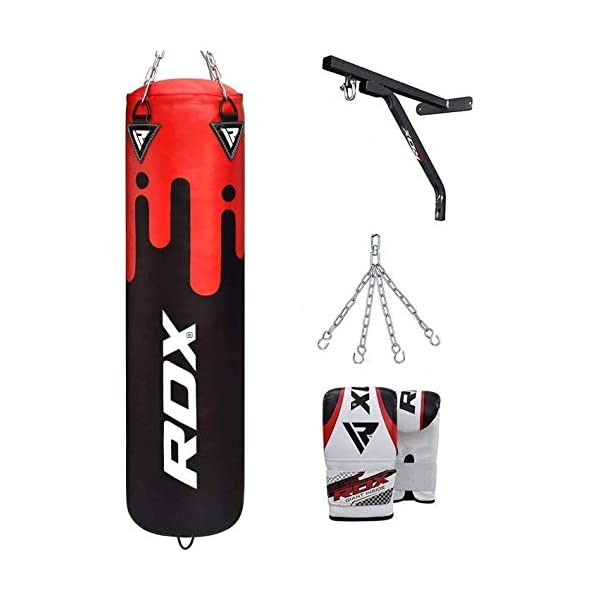RDX-Punch-Bag-Filled-Set-Kick-Boxing-MMA-Training-Gloves-Heavy-Punching-Mitts-Hanging-Chain-Ceiling-Hook-Muay-Thai-4PC-Martial-Arts-4FT-5FT