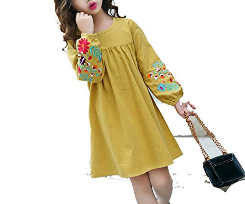 Balalei Girls Cute Embroidered Long Sleeves Dress 2019 Children's Cotton Lantern Sleeve Doll Dresses Kids Clothes,Yellow,7