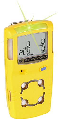 Monitors Sulfide Hydrogen (Honeywell MCX3-XWHM-Y-NA BW Technologies by GasAlertMicroClip X3 Portable Hydrogen Sulfide/Oxygen Monitor)