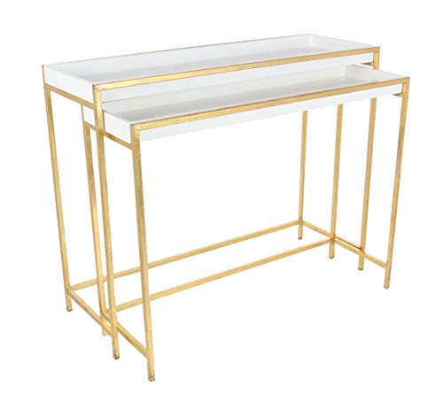 Deco 79 Metal and Wood Console Set of 2, 38