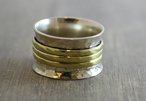 Sterling Silver Mixed Metals Brass Bohemian Spinning Fidget Ring size 8