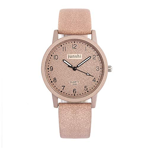 Fashion Simple Women Leather Bnads Watches Arab Number Scale Casual Quartz Watch (Pink A)