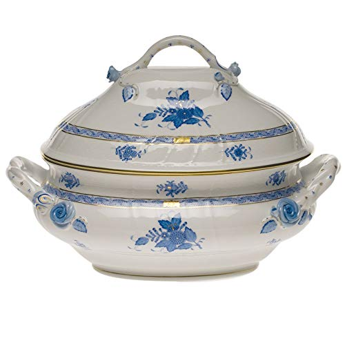Herend Chinese Bouquet Blue Porcelain Tureen with Branch Handles