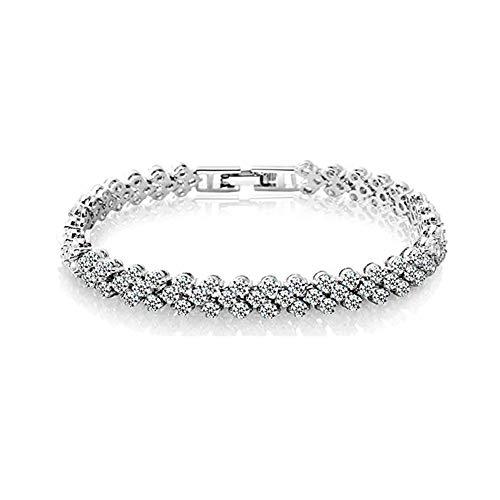 (FannyShop Rhinestone Bracelet Bangle Link, Women Silver/Gold Plated Crystal Bracelets, Fashion Teen Girl Bangle Bracelet - Bridal, Wedding, Prom, Party Wear, Pageant, Tennis Bracelet (Silver))
