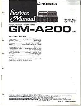 pioneer gm 620 wiring diagram pioneer gm-a200 power amplifier for car stereo, service ...