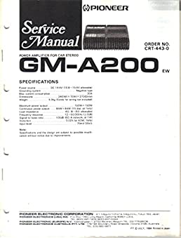 pioneer gm a200 power amplifier for car stereo service manual rh amazon com Pioneer Deh Wiring-Diagram Pioneer DEH-150MP Wiring-Diagram