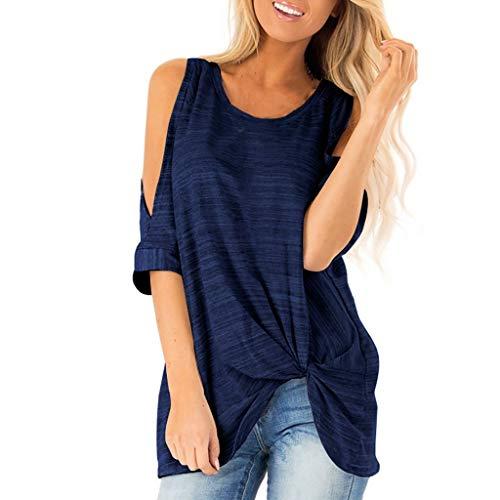 [해외]Wonderful 여성용 Dew 숄더 스트라이프 프린트 티 반소매 라운드 넥 블라우스 캐주얼 매듭 티셔츠 상의 / Wonderful Women`s Dew Shoulder Striped Print Tee Short Sleeve Round Neck Blouse Casual Knotted T-Shirt Tops Navy