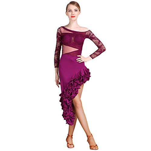 Abiti Pizzo Party Da Donna Con Manica Gonna Ballo Formazione Latino In Ballroom Lunga Purple Delle Vestiti Samba Tango Salsa Dress Donne 2xl Jryyue Draping Latini qEZpOwfp