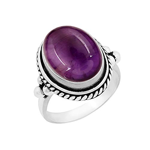 Genuine Large Oval Shape Amethyst Solitaire Ring 925 Silver Plated Vintage Style Handmade for Women Girls (Size-5)