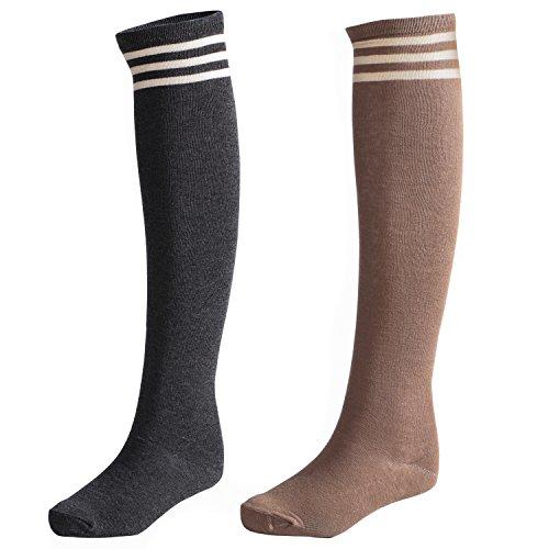 (Littleforbig Stripe Tube Dresses Over The Knee Thigh High Stockings Cosplay Socks(Darkgrey-Brown))