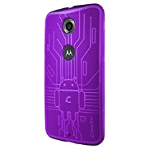 Nexus 6 Case, Cruzerlite Bugdroid Circuit TPU Case Compatible for Google Nexus 6 / Motorola Nexus 6 (2014 Release) - Purple