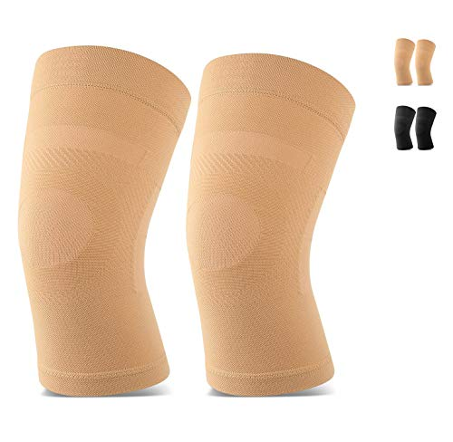 TOFLY Knee Sleeves, 1 or 2 Pairs, Could Be Worn Under Pants, Lightweight Knee Compression Sleeves for Men Women, Knee Brace Support for Joint Pain Relief, Arthritis, ACL, MCL, Sports, Injury Recovery