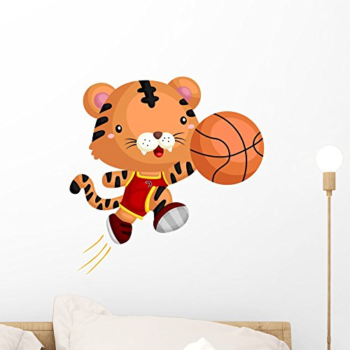 Team Mascot Button - Wallmonkeys Basketball Tiger Wall Decal Peel and Stick Graphic (18 in H x 18 in W) WM368509