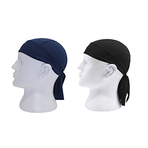 (DW Men Bandana ,Breathable Beanie Hip Hop Head Scarves Caps Face Wrap Bandana Cycling Motorcycle Sports Pirate Scarf Hat (Black&Navy))