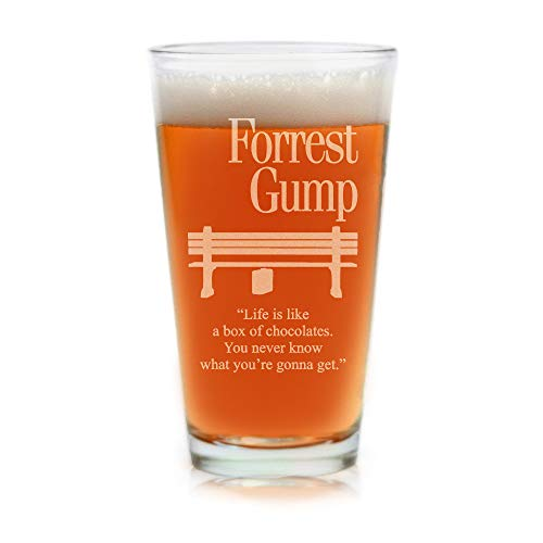 Movies On Glass - Premium Etched Forrest Gump Movie Engraved Logo With Quote,