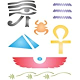 "EGYPTIAN STENCIL (size: 5""w x 6""h) Reusable Stencils for Painting - Best Quality Wall Art Decor Ideas - Use for SCRAPBOOKING, Walls, Floors, Fabrics, Glass, Wood, Cards, and More…"