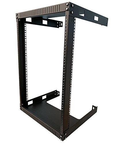 Kenuco 15U Wall Mount Open Frame Steel Network Equipment Rack 17.75 Inch Deep