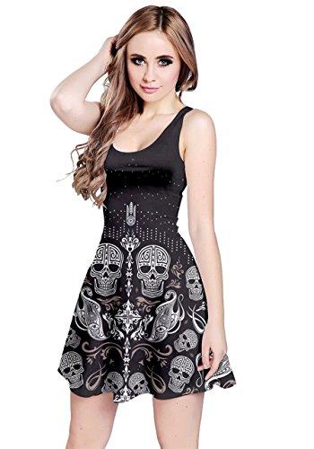 CowCow Womens Skull Aztec Sleeveless Dress, Aztec - L