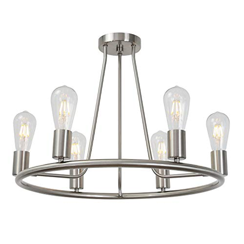 BONLICHT Round Farmhouse Chandelier Lighting 6-Light Modern Indoor Ceiling Lights Brushed Nickel Mid Century Flush Mount Light Fixtures Ceiling Kitchen Island Dining Room Lighting UL Listed Brushed Nickel Six Light Chandelier