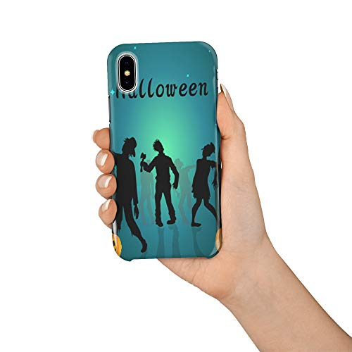Durable Phone Case for iPhone X, Halloween Zombie and Pumpkin Stylish Phone Shell Shockproof Protective Back Cover with Tempered Glass Screen Protector, -