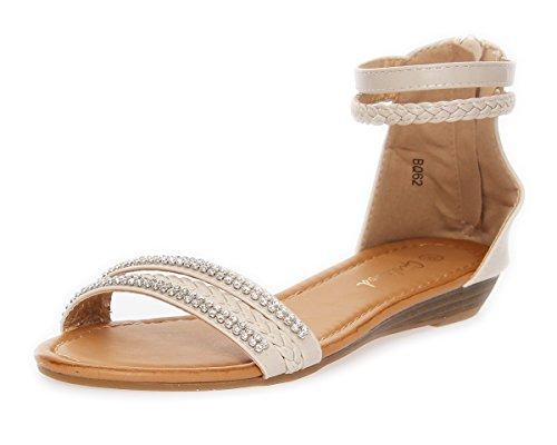 Damen Sandalen mit Strass Keilabsatz in 4 Farben Gr. 36 37 38 39 40 41 Beige