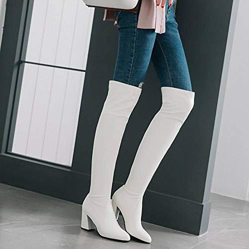 Chaussures Blanc Talon Au Femmes Taoffen Genou Cours 8 Bottes Longue Cuissarde Haut UvZzqvAF
