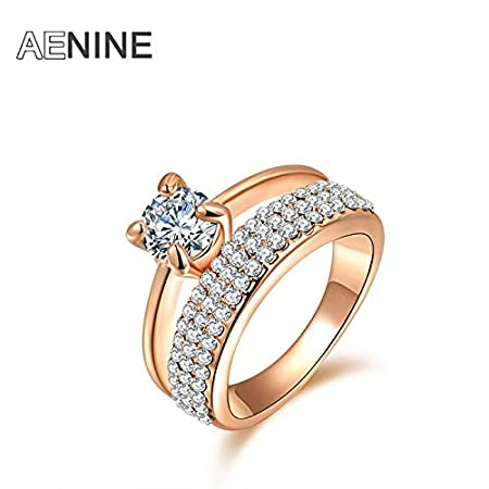 Amazon.com: JEWH Wedding Rings Jewelry - Classic AAA Cubic Zirconia Finger Rings - Pave Setting Austrian Crystal Rose Gold Color - Cute Lovely Gift for ...
