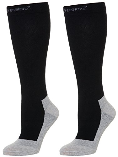 CompressionZ Below Knee High Compression Socks (1 Pair), 20-30mmHg, Large - Black by CompressionZ