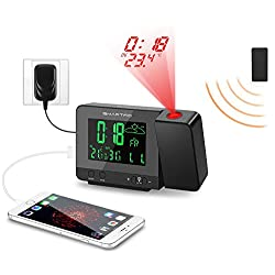 SMARTRO Alarm Clock Digital Projection Clock with Weather Station, Indoor/Outdoor Thermometer, Dual Alarm, USB Phone Charging