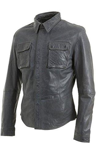Slim Fit Vintage- Herren -Grau-Leder -Jeans Trucker Shirt Biker Jacket