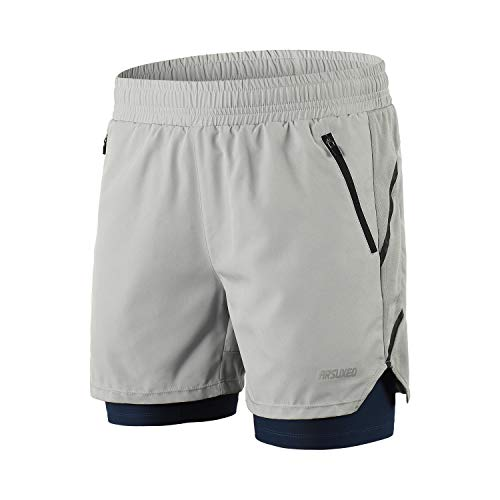 ARSUXEO Men's 2 in 1 Active Running Shorts with 2 Zipper Pockets B191 Grey Size - 2 Zipper Pockets
