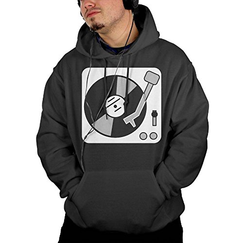 Men's Record Player Turntable DJ Pullover Hoodie Sweatshirts With Front Pocket (Toddler Soccer Player Halloween Costume)
