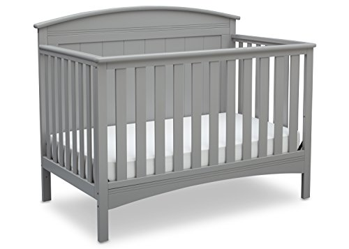 Infant Wood Crib - Delta Children Archer Solid Panel 4-in-1 Convertible Baby Crib, Grey