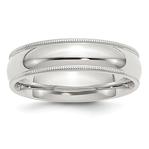 925 Sterling Silver 6mm Milgrain Comfort Fit Wedding Ring Band Size 7.00 Classic Half Round Fine Jewelry Gifts For Women For Her