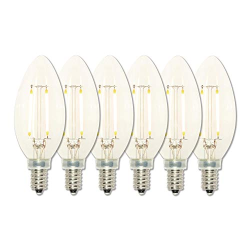 Westinghouse Lighting 5059120 25-Watt Equivalent B11 Dimmable Clear Filament LED Light Bulb with Candelabra Base (6 Pack), - Westinghouse Candle