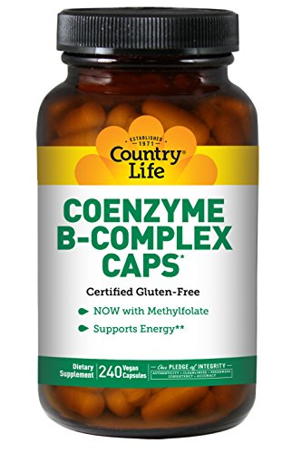Country Life – Coenzyme B-Complex with Methylfolate – 240 Vegan Capsules