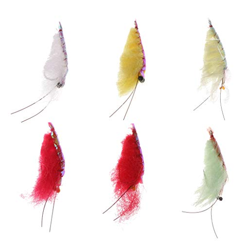 (MagiDeal 6pc Artificial Shrimp Flies Fly Fishing Saltwater Shrimp Bait Lure Mix Color)