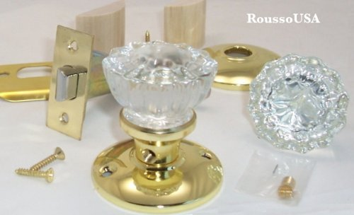 Very Affordable Fluted Crystal Glass Passage Door Knob Sets for Modern Doors. Includes our Original Wood Adapters to install in modern pre-drilled doors(Polished Brass)