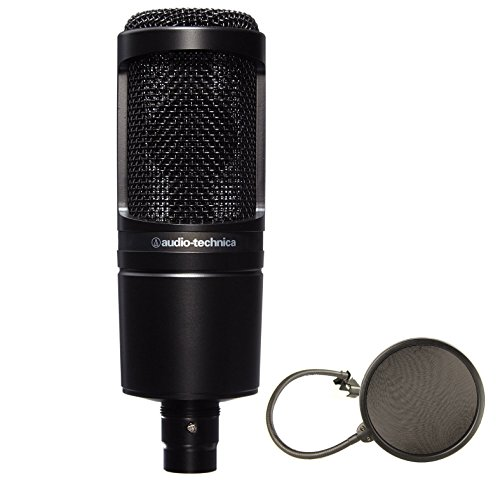 Audio-Technica AT2020 Cardioid Condenser Studio Microphone Bundle + Pop Filter (Audio Technica At2020 Studio Condenser)