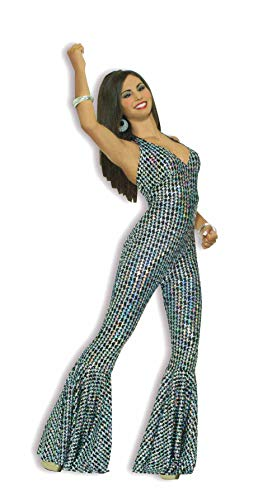 Forum Novelties Women's Boogie Dancing Babe 70's Costume, Silver/Black, -