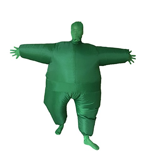 Full Body Solid Color Inflatable Masked Man Cosplay Costume Novelty Party Dress Blow Up Fancy Funny Jumpsuit (Green)]()