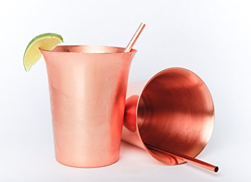 Mint Julep Cups with Straws - Copper - 12oz. - Set of 2