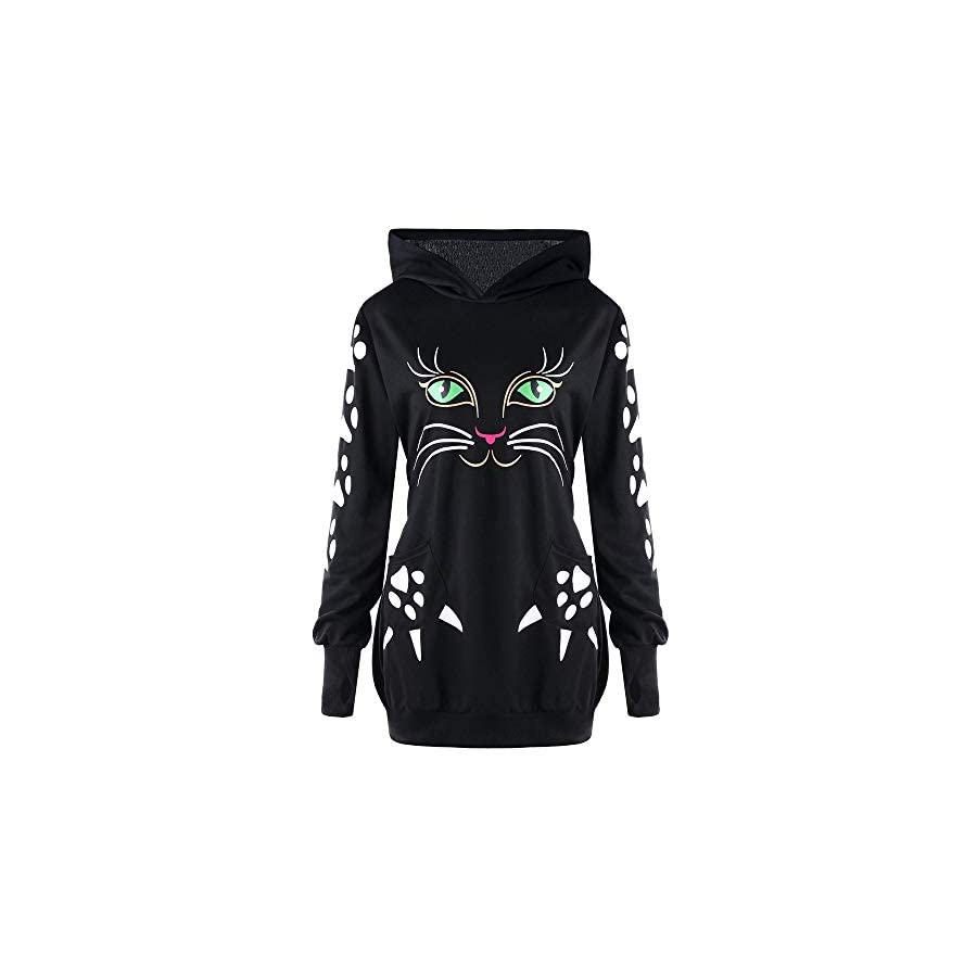 GOVOW Valentine's Day Present Sweater Shirt for Women Cat Print Hoodie with Ears Hooded Pullover Tops