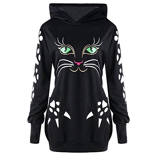 GOVOW Halloween Sweater Shirt for Women Cat Print Hoodie with Ears Hooded Pullover Tops Blouse(US:14/CN:XXXL,Black)