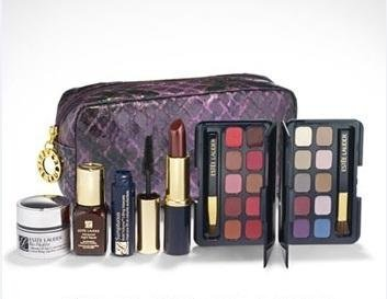 NEW! 2012 Estee Lauder 7- Piece Skin Care Beauty Makeup Travel Gift set: Re-Nutriv Ultimate Lift Age-Correcting Creme + Estee Lauder Advanced Night Repair Synchronized Recovery Complex Serum + 10-Pan Eyeshadow Palette + 10-Pan Lip Color Palette + Pure Color Lipstick in Berry Truffle + Sumptuous Mascara in Black + Cosmetics Bag